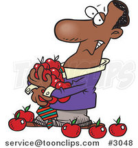 Cartoon Black Business Man Holding an Armful of Apples by Ron Leishman