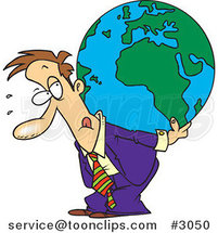 Cartoon Business Man Carrying a Burden Globe on His Back by Ron Leishman