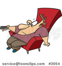 Cartoon Bored Guy Slumped in a Chair and Holding a Remote Control by Ron Leishman