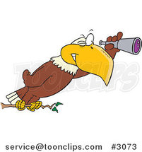 Cartoon Eagle Using a Telescope by Toonaday
