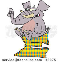 Cartoon Elephant Sitting on a Letter E by Ron Leishman