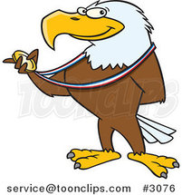 Cartoon Bald Eagle Holding a Medal by Toonaday