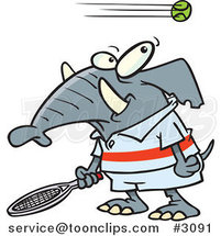 Cartoon Tennis Elephant by Ron Leishman