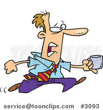 Cartoon Business Man Running with a Cup of Coffee by Ron Leishman