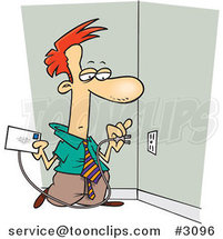 Cartoon Business Man Plugging a Letter into an Electrical Socket by Ron Leishman