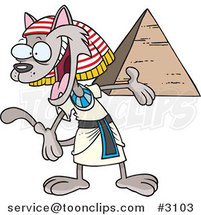 Cartoon Egyptian Cat Presenting a Pyramid by Ron Leishman