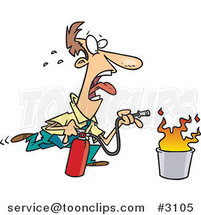 Cartoon Business Man Extinguishing a Fire by Ron Leishman