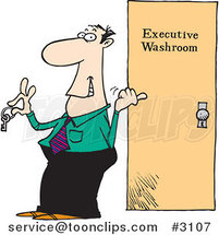 Cartoon Business Man Holding the Key to an Executive Washroom by Ron Leishman