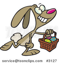 Cartoon Happy Easter Bunny Carrying a Basket by Toonaday