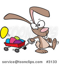 Cartoon Bunny Pulling a Wagon of Easter Eggs by Toonaday