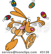 Cartoon Bunny Juggling Easter Eggs by Toonaday