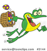 Cartoon Frog Hopping with a Basket of Easter Eggs by Toonaday
