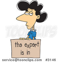 Cartoon Business Woman with a Dyslexic Expert Sign by Ron Leishman