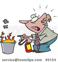 Cartoon Business Man Putting out a Fire by Ron Leishman