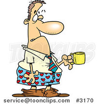 Cartoon Business Man in Boxers, Holding a Cup of Coffee by Ron Leishman