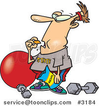 Cartoon Guy Bingeing Instead of Exercising by Ron Leishman