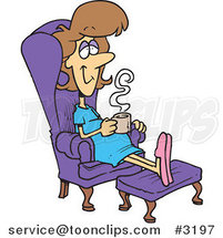 Cartoon Pregnant Lady Relaxing in a Chair with a Warm Beverage by Toonaday