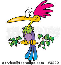 Cartoon Exotic Bird Perched on a Branch by Toonaday
