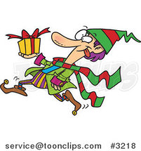 Cartoon Christmas Elf Running with a Gift by Ron Leishman
