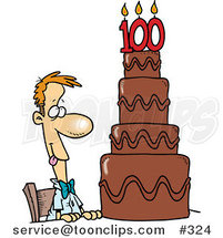 Hungry Cartoon Guy Drooling over a 100 Birthday Cake by Ron Leishman