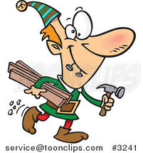 Cartoon Christmas Elf Carrying Lumber and a Hammer by Ron Leishman