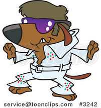 Cartoon Elvis Impersonator Dog Dancing by Ron Leishman