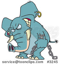 Cartoon Evil Elephant Carrying a Chain by Ron Leishman