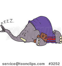 Cartoon Sleeping Elephant by Toonaday