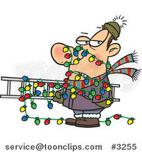 Cartoon Guy Tangled in Christmas Lights, Carrying a Ladder by Ron Leishman