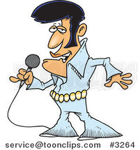 Cartoon Elvis Impersonator Singing by Ron Leishman