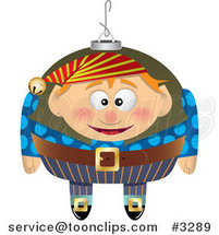 Cartoon Black and White Line Drawing of a Christmas Elf Ornament - 2 by Ron Leishman