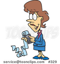 Female Cartoon Accountant Holding a Calculator with a Long Strip of Paper by Toonaday