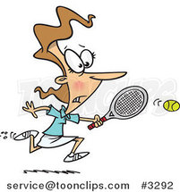 Cartoon Lady Chasing an Elusive Tennis Ball by Ron Leishman