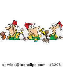 Cartoon Three Christmas Elves Making Toys by Ron Leishman