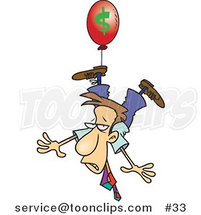 Cartoon Businessman Being Carried Away by a Red Inflation Balloon by Toonaday