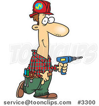 Cartoon Electrician Carrying a Drill by Ron Leishman