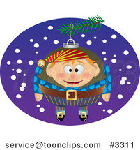 Cartoon Black and White Line Drawing of a Christmas Elf Ornament - 3 by Ron Leishman
