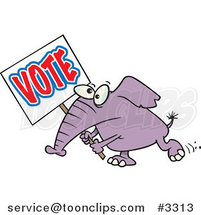 Cartoon Elephant Carrying a Vote Sign by Toonaday