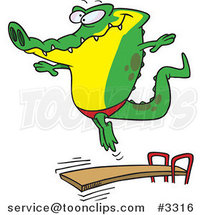 Cartoon Gator Bouncing off a Diving Board by Ron Leishman
