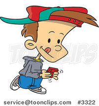 Cartoon Boy Walking and Playing a Video Game by Ron Leishman