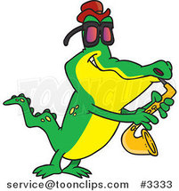 Cartoon Gator Playing the Blues by Ron Leishman
