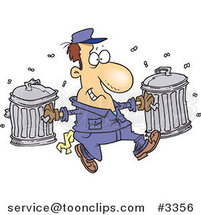 Cartoon Happy Garbage Guy Carrying Trash Cans by Ron Leishman