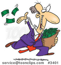 Cartoon Charitable Rich Business Man Throwing Money by Ron Leishman