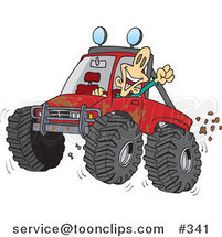 Cartoon Excited Guy 4wheeling His Truck Through Mud by Ron Leishman