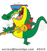 Cartoon Gator Guitarist by Ron Leishman