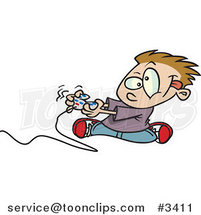 Cartoon Boy Playing a Video Game with a Controller by Ron Leishman