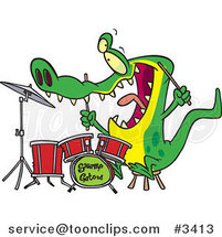 Cartoon Drummer Gator by Ron Leishman