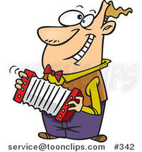 Happy Cartoon Guy Playing an Accordion by Ron Leishman