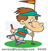 Cartoon Golfing Boy by Ron Leishman