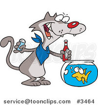 Cartoon Cat Seasoning a Goldfish with Ketchup by Ron Leishman
